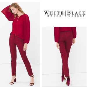 WHBM Jacquard Slim Ankle Pant, Burgundy Red